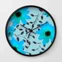 Pale Blue Flowers and Vines Wall Clock