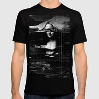 Mona Lisa Glitch Mens Fitted Tee Black SMALL