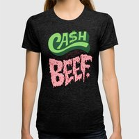 Cash For The Beef Womens Fitted Tee Tri-Black SMALL