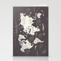 map Stationery Cards featuring The World Map by Mike Koubou