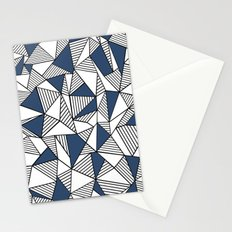 Abstraction Lines with Navy Blocks Stationery Cards