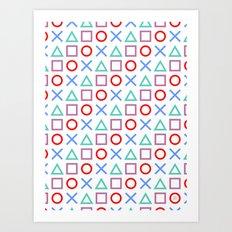 Gamer Pattern Color on White Art Print