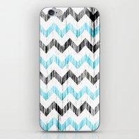 Grunge Chevron Black/whi… iPhone & iPod Skin