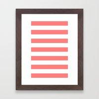 Coral White Stripes Framed Art Print