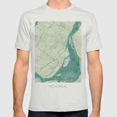 Montreal Map Blue Vintage Mens Fitted Tee Silver SMALL