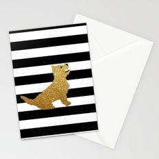 Highland Westie terrier dog in golden glitter Stationery Cards