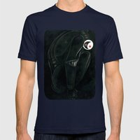 Moonbot #0: Black Mens Fitted Tee Navy SMALL