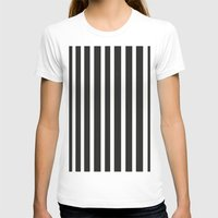 Stripe It! Womens Fitted Tee White SMALL