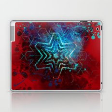 Glowing abstract blue star on blood red Laptop & iPad Skin