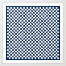 White stars polka pattern Art Print