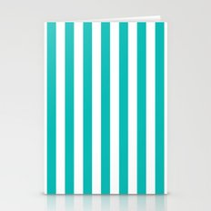 Vertical Stripes (Tiffany Blue/White) Stationery Cards