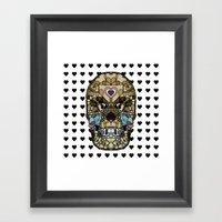 Skull Say Love Hearts (H… Framed Art Print