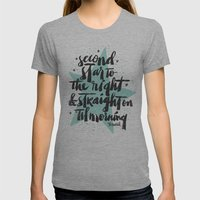 SECOND STAR TO THE RIGHT Womens Fitted Tee Athletic Grey SMALL