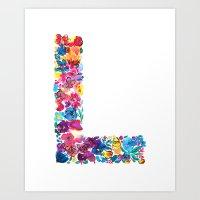 L Letter Floral Art Print