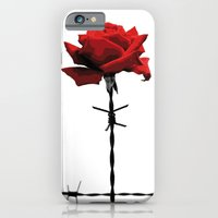 iPhone & iPod Case featuring Barbed wire red rose by Mendelsign