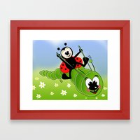 Ladybug and Caterpillar Framed Art Print