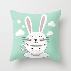 Take a Cup of Bunny Throw Pillow