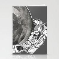Troubled Moons and Spacemen Stationery Cards