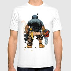 Bo: Plushy Gangsta White SMALL Mens Fitted Tee