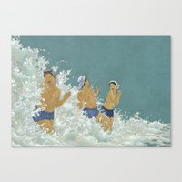 Three Ama Enveloped In A Crashing Wave Canvas Print