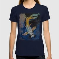 Dragon Koi Womens Fitted Tee Navy SMALL