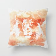 Lion Watercolor Throw Pillow