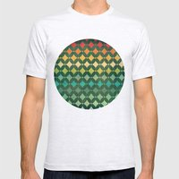 Vintage Rainbow Pattern Mens Fitted Tee Ash Grey SMALL