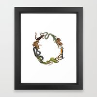 Reptile Wreath Framed Art Print