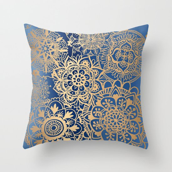 blue gold mandala throw pillow