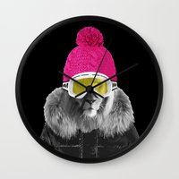 LION SURFER POWDER POWER Wall Clock
