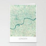 London Map Blue Vintage Stationery Cards