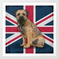 Border Terrier Union Jack Design Art Print
