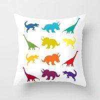 Dino Parade Throw Pillow