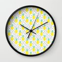 Pineapple fun modern minimal scandi design fresh fruit tropical island summer beach socal vegan Wall Clock