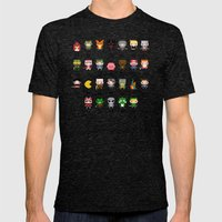 Video Games Pixel Alphabet Mens Fitted Tee Tri-Black SMALL