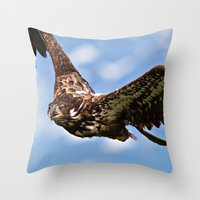 Flying Immature Bald Eag… Throw Pillow