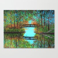 Small Bridge In The Wood… Canvas Print