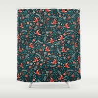 Flying Swallows Shower Curtain