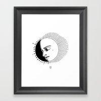 Half Moon Face Framed Art Print