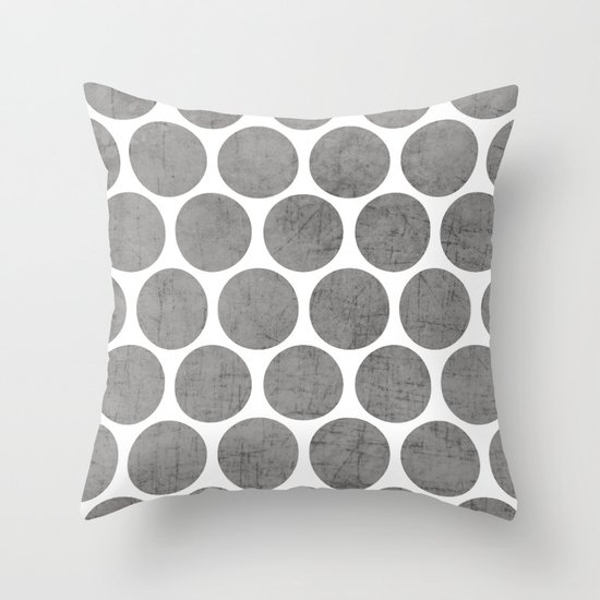gray polka dots Throw Pillow
