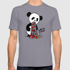 LOVESICK PANDA - grey Mens Fitted Tee Slate SMALL