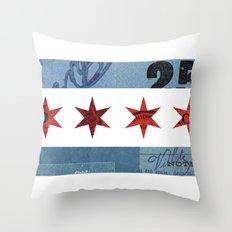 Ephemeral Chicago Flag Throw Pillow