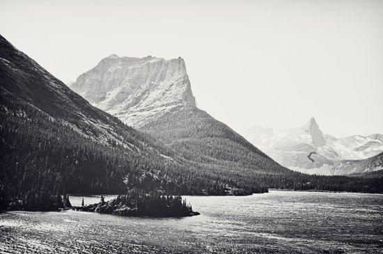 Glacier Mountain Lake Black and White Art Print