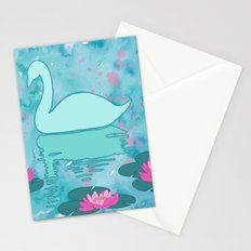 Swan on the lake Stationery Cards