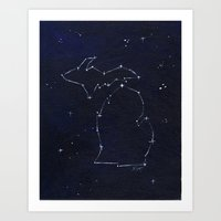 Mitten State Constellation Art Print