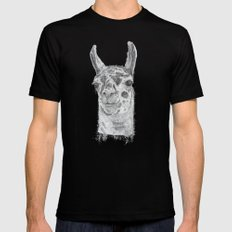 Llama SMALL Black Mens Fitted Tee