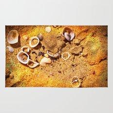 Seashells on sand Rug