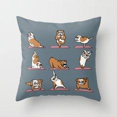 English Bulldog Yoga Throw Pillow