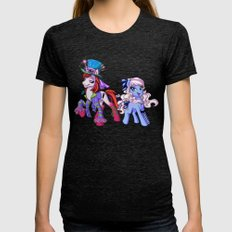 Mad T Ponies 'Alice And … Womens Fitted Tee Tri-Black SMALL