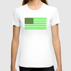 united states america green flag ecology Womens Fitted Tee White SMALL